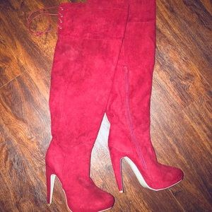 Just Fab thigh high red suede boots